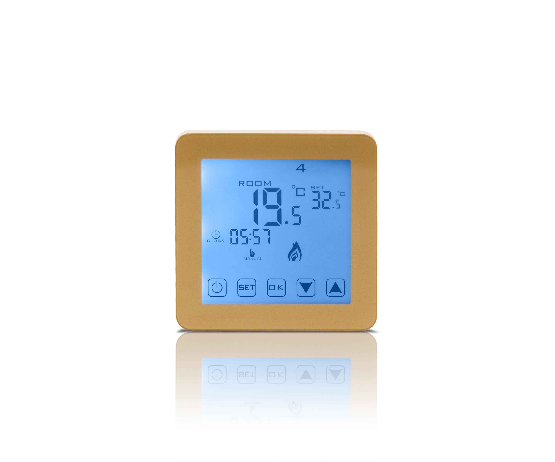 UUS! node next gold – LCD-ekraaniga termostaat matt kuldne 230V, 16A, IP20  Puutetundlik, valge taustvalgustus, nädala programm, katlakivi